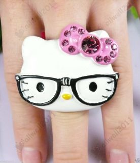Hello Kitty Ring Big Face With Glasses Crystal Rhinestone Adjustable