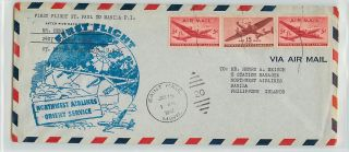 FAM F28 11 1947 First Flight Cover St Paul Manila Northwest Airlines