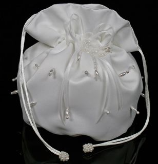 White Satin Bridal Beaded Wedding Money Dance Bag Purse