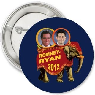 MITT ROMNEY PAUL RYAN 2012 old school GOP Republican ELEPHANT Pinback