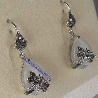 18K White Gold GP Black Swarovski Crystal Hook Dangle Dragonfly