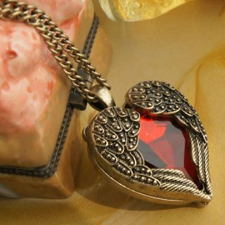 New Angel Wings Fairy Tale Red Heart Necklace Fashion Pendant Chain