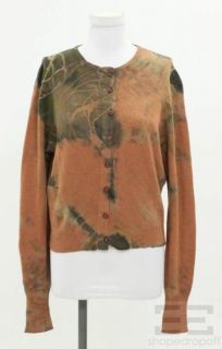 Momo Falana Orange & Green Tie Dyed Cashmere Button Up Cardigan