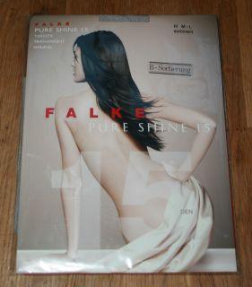 New Falke Range Pure Shine Sheer to Waist 15 D Tights Pantyhose M L