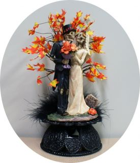 159293371 fall day of the dead halloween wedding cake topper