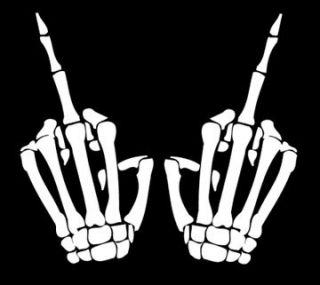 Skeleton Middle Finger Car Window Decal Sticker