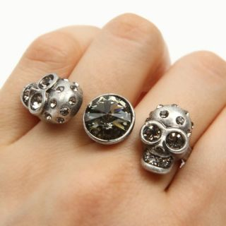 Crystal Vintage St Skull Two Finger Double Ring AU Size O US 7