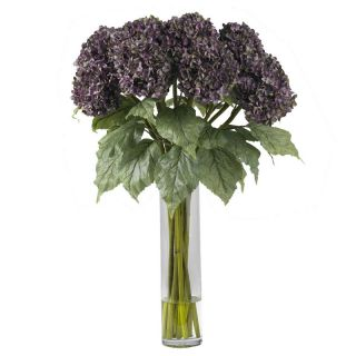 Hydrangea Silk Flower Arrangement 1221 Purple White 31 in x 20 in x 20