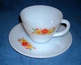 Fire King Cup Saucer Yellow Orange Flowers
