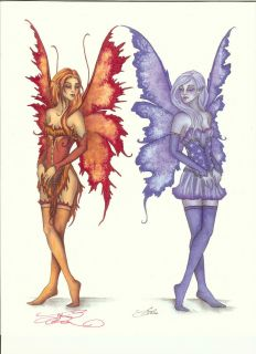 Amy Brown Fairy Signed Print Fire Ice Elemental Twins
