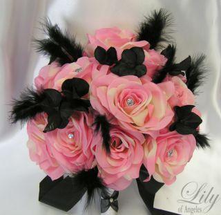 17pcs Wedding Bridal Bouquet Flowers Bride Silk Boutonniere PINK BLACK
