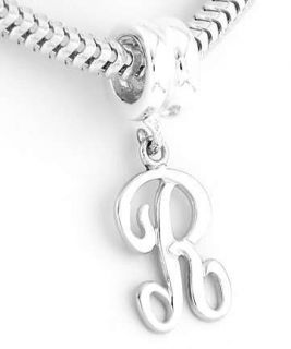 Silver Fancy Cursive Letter R Dangle European Bead