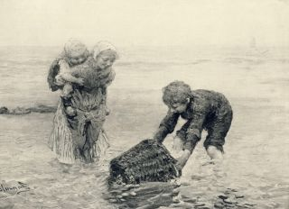 Print c19th Children Brother Sister Shrimp Fishing Basket