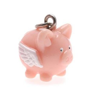Hand Painted Cute 3D Flying Pig Jewelry Charm 17mm (1)
