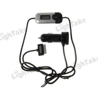 New Auto Play Smart Scan FM Radio Transmitter + Car Charger for iPod