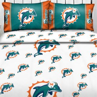 DOLPHINS Logo TWIN Single SHEET SET Football Sheets Sports Bedding