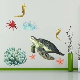 Fish Tortoise Kids Wall Decals Nursery Stickers Bathroom Decor Vinyl