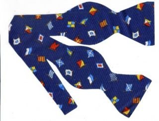 Self Tie Bow Tie Anchors Aweigh Nautical Signal Flags on Blue All