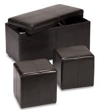 Faux Leather Storage Bench with 2 Side Ottomans Espresso