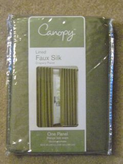 Canopy lined Faux Silk Drapery Panel 54 x 95  Aloe Green  One Panel