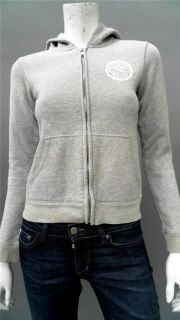 Abercrombie & Fitch Junior Cotton Zip Up Hoodie SZ S Gray Solid AUTH