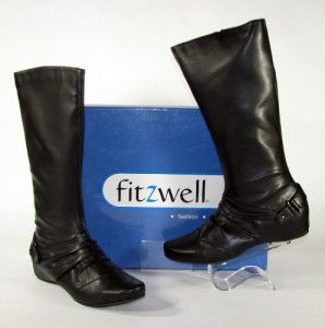 Black Pleated Leather Buckle Fitzwell Alice Knee High Ladies Boots 11M