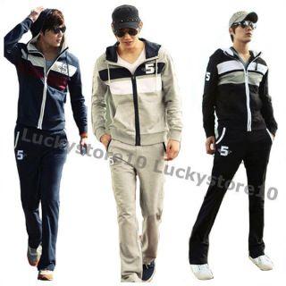 Mens Full Suit Tracksuit Football Training Track Hoodie Jacket Pant M