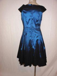 Jessica Howard Navy Beaded Taffeta Asymmetrical Neck Cocktail Dress 10