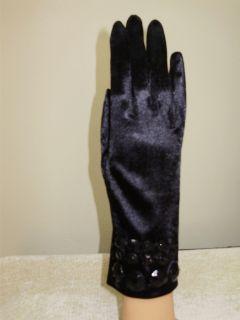 Ladies Black Jeweled Satin Tea Dressy Formal Gloves