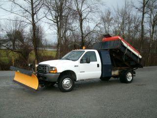 Ford F 450 7 3 Power Stroke Snow Plow Salt Spreader Dump Truck