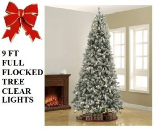 Pre Lit 9 ft Artificial Flocked Snow Christmas Tree W/ Clear 700