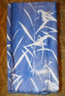 Urban Outfitters Soft Fleece Blue Marsh Birds Throw 5x4