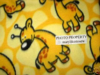 Giraffe Zoo Animal Soft Yellow Fleece Baby Blanket Small 32 x 32