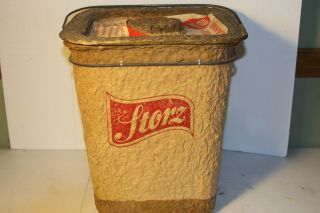 VERY RARE VINTAGE PAPER MACHE STORZ BEER MINNOW BUCKET AND PICNIC