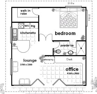 Office Kit Homes  Granny Flat Floor HOUSE PLANS or optional Kit Home