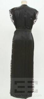 Fernando Sanchez 2 PC Black Satin Burgundy Lace Long Night Gown Robe