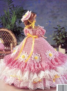 Flora of Miami Spring Gown for Barbie Fashion Dolls Crochet Pattern