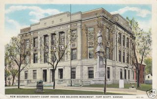 Bourbon County Court House Fort Scott KS Postcard