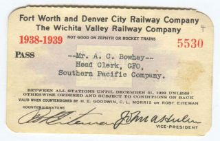 Fort Worth and Denver City Railway Co. Wichita Valley Railway Co. Pass