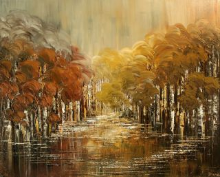 Fall Picture Birch Large Original Forest Painting Art Tatiana Trees