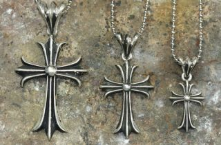 Sterling Silver 34mm Flory Fitch Cross Pendant