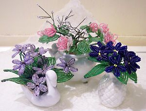 Vtg French Beaded Glass Wired Beads Flower Floral Arrangements