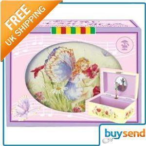 Girls Flowery Fairy Musical Jewellery Box Gift New