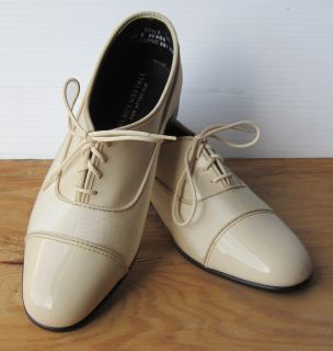 New Ivory Two Tone Formal Shoes Wedding Prom Costume Theater Vintage