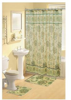 Paisley Floral Vines Green Shower Curtain Bathroom Beige Bath Rug 15