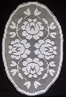 VINTAGE HAND MAD FLORAL CROCHET COTTON TABLE CLOTH COVER DOILY RUNNER