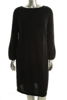 Ralph Lauren New Black Merino Wool Long Sleeve Crew Neck Sweaterdress