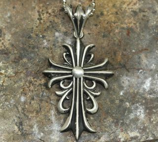 Sterling Silver 61mm flory Cross Pendant