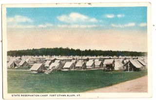 PC44 1917 Postcard reservation Camp Fort Ethan Allen VT