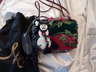 Mary Frances Frosty Holiday Bag Purse Handbag New Snowman Black Beaded